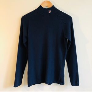 Gear Rib Knit Embroidered Mock Turtleneck in Blue
